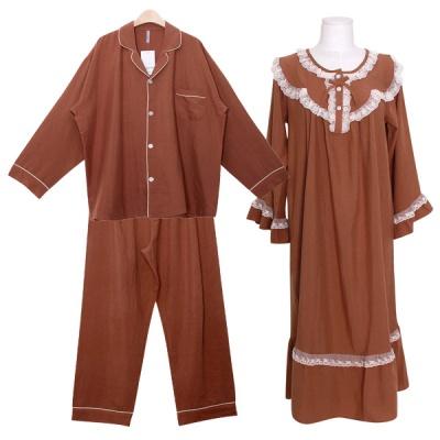[쿠비카]이단 라운드 레이스 원피스 커플잠옷 WM366
