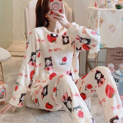 딸기소녀 수면잠옷 여성 극세사 수면바지 잠옷세트