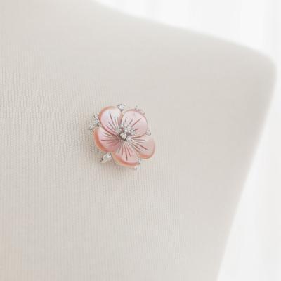 바이데이지 1Bh0156 더스완 핑크 자개꽃 미니 브로치