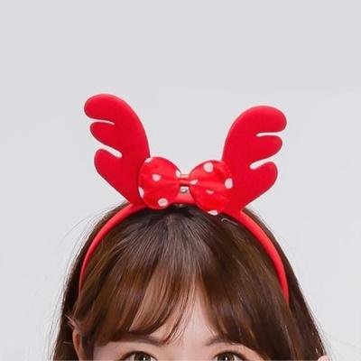 도트리본 루돌프뿔 머리띠 크리스마스파티소품