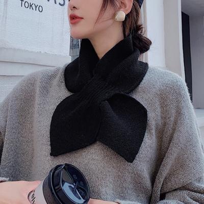 리본 쁘띠머플러(블랙)/ 여자 미니 숏목도리
