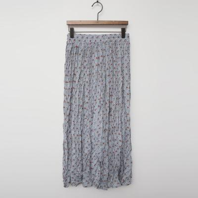 Flower Wrinkle Long Skirt