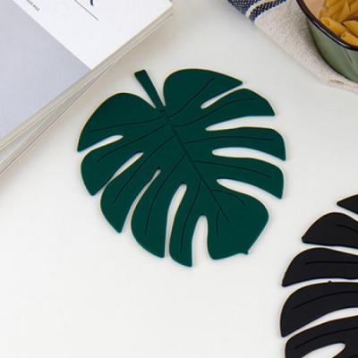 (와인앤쿡)미니멀 그린 나뭇잎 냄비받침 1개