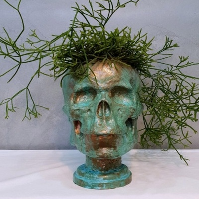 빈티지 부식 해골 중형 석고상 화분 35cm내외+리본2개
