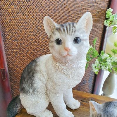 그레이 고양이 패밀리 장식인형