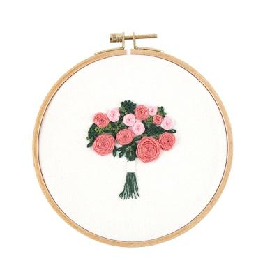 프랑스자수 DIY패키지 핑크꽃다발
