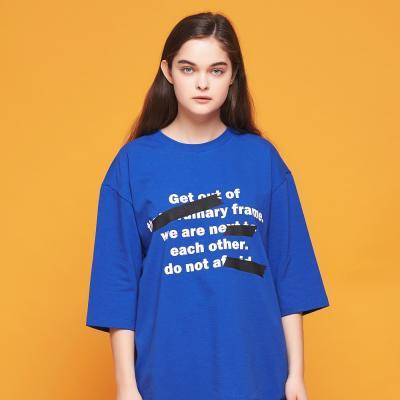 컬러 테이프 7부 티셔츠 (블루)