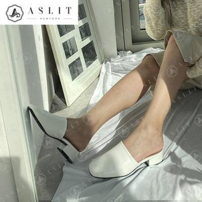 [애슬릿]와이드 스퀘어 여성 실내 뮬 힐 슬리퍼 3cm