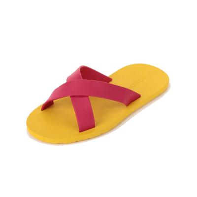 summer 옐로우 핑크 크로스 2줄 배색 슬리퍼 편한
