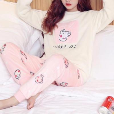 꿀꿀 수면잠옷 여성겨울 극세사 수면 바지 잠옷세트