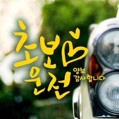 캘리 하트초보운전 옐로우 초보운전스티커-옐로우