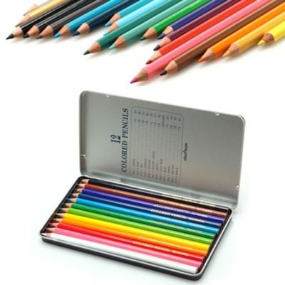 문화 12색 색연필 틴
