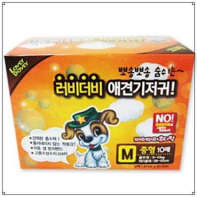 애견 관리용품 러비더비 애견 기저귀 10매 (M)