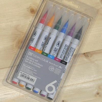 [Kuretake] 천연모 브러쉬팁의 캘리그라피,수채화붓..일본 쿠레다케 지그 Clean Color Real Brush 6색 Set HF132-1