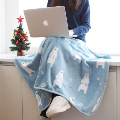 따뜻한 겨울 포근한 양면극세사 무릎담요 파스텔 베어