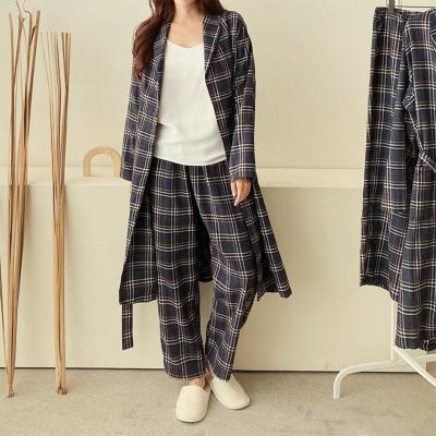 [Set] Gimo Navy Check Robe + Wide Pants - 커플룩