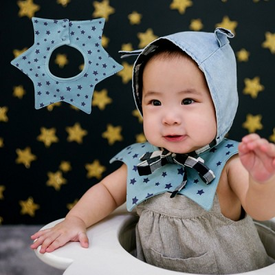 [HARAROI 턱받이]_작은별빛 스타 스카이블루