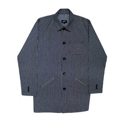 [게타] White striped half denim jacket navy