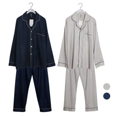 [쿠비카]스웨이드 긴소매 카라 남성잠옷 BNBR-M080