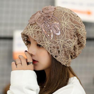 민아 꽃 레이스 비니 모자