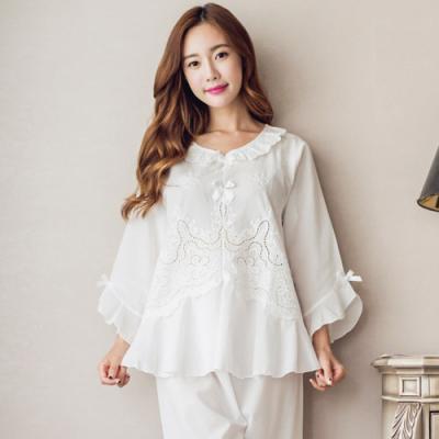 [쿠비카]여성잠옷 펀칭 플라워 넝쿨 투피스 BNBR-W841