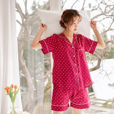 [쿠비카]도트 순면 반소매 투피스 카라 여성잠옷 W444