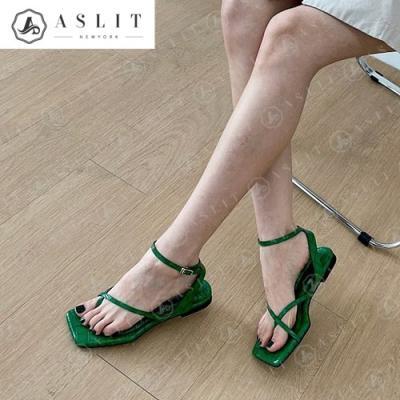 [애슬릿]여성 와니 엄지 고리 발목 스트랩 플랫 샌들