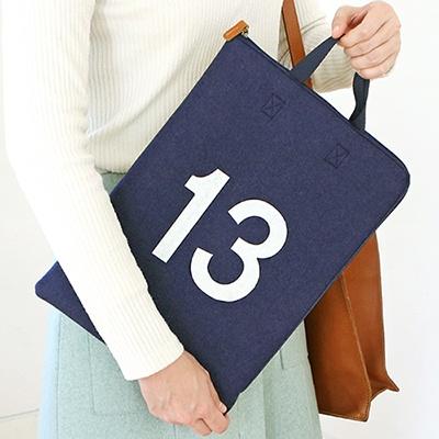 더 베이직 펠트ver.5 노트북 스트랩 파우치 13인치-네이비&라임