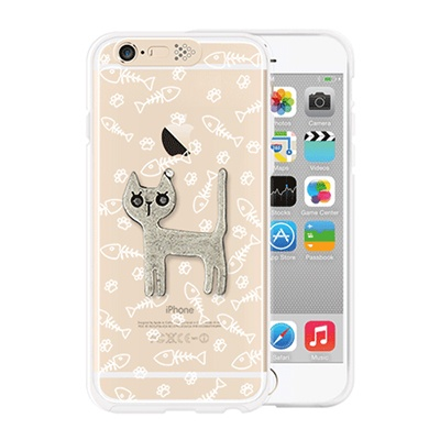 [SG DESIGN] iPhone6/6S SG Lighting Clear Hand-made Case - Clear Silver Cat (Swarovski)