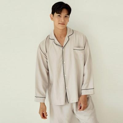 [쿠비카]샌드워싱 딥그린 파이핑 카라넥 남성잠옷M256