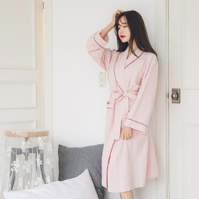 [쿠비카]투톤 스트라이프 면 가운 여성잠옷 W259