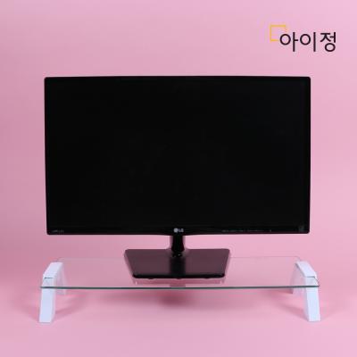 스마트독컴팩트 모니터받침대 C638 투명유리/화이트