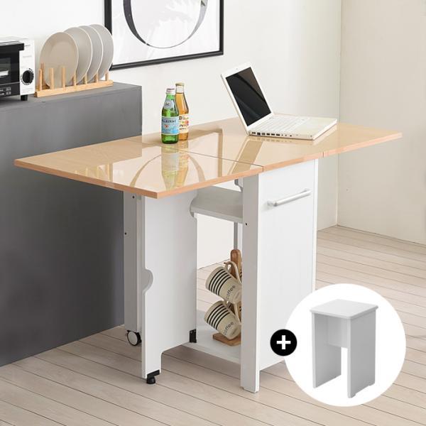 이동형 폴딩 테이블식탁(하이그로시600)+의자2개KD479