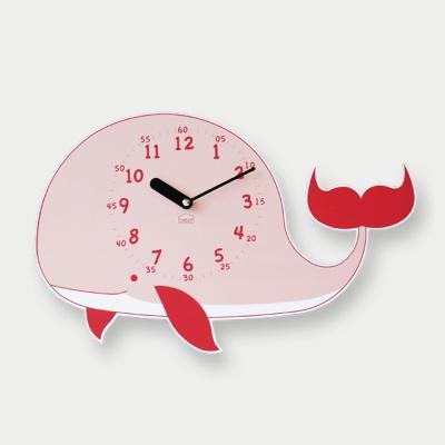 [베짓] 꿈의 고래 무소음 벽시계(핑크)