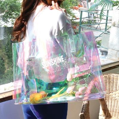 레이지라운지 썸머 PVC비치백 - 핑크홀로그램