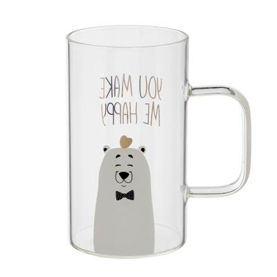 [로하티]하트 곰 유리컵(600ml)/ 주스컵 투명잔