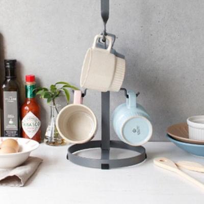 철제 머그잔걸이(그레이) 6P 소품 컵정리대 주방용품