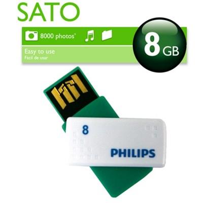 [PHILIPS]  필립스 USB메모리 / SATO 8GB / 색상:그린+화이트 /스윙방식 / 초소형사이즈 /