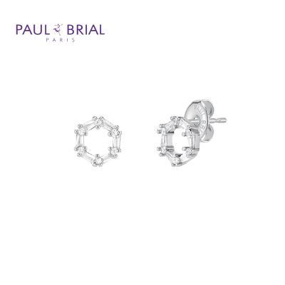 폴브리알 PYBE0095 (WG) 원형 큐빅 귀걸이 小