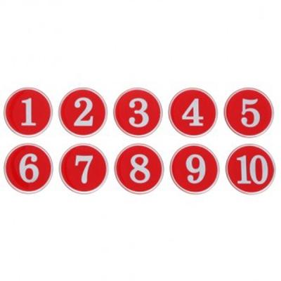 번호판 1-500 (빨강) 10개입1세트(1150) 번호 안내판 표지판