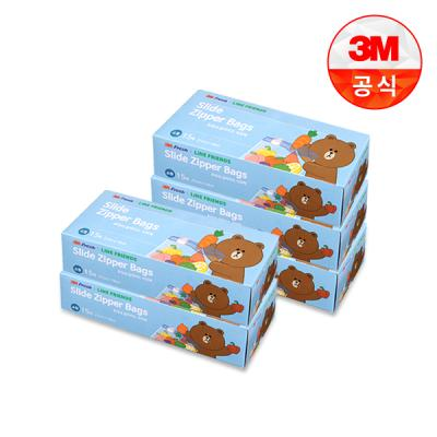[3M]라인프렌즈 후레쉬 슬라이드 지퍼백(소) 5개세트