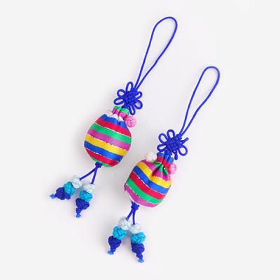 청색 색동 복주머니 매듭끈 (3개)