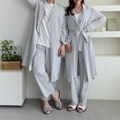 [Set] Comfy Check Robe + Wide Pants - 커플룩