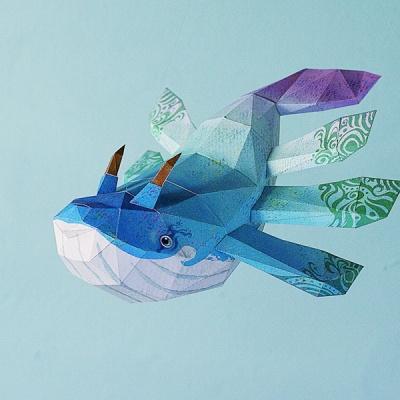 [톰텐] 페이퍼크래프트 고래의비행(아몽) Whale Flight(Among)