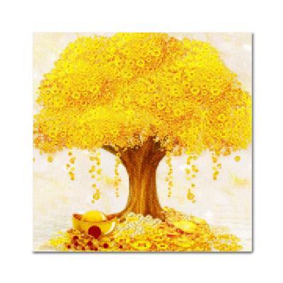 DIY 보석십자수 - 황금나무 BE22 (25X25)