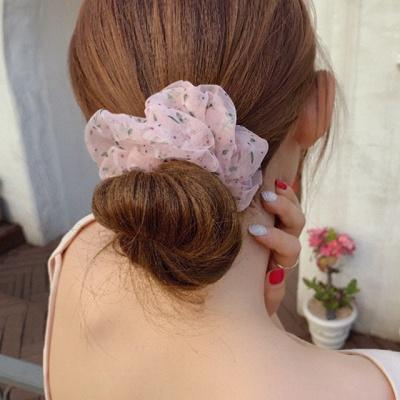 플로랄 곱창 머리끈