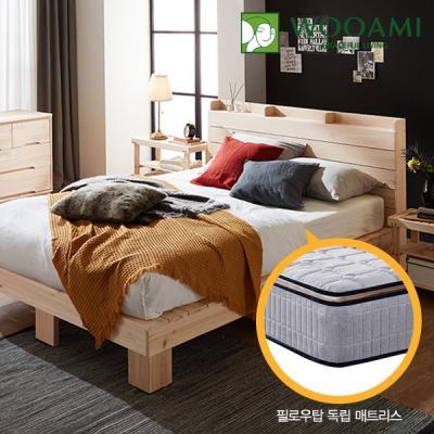 [우아미]힐링 편백 수납 원목 침대,필로우탑독립매트Q