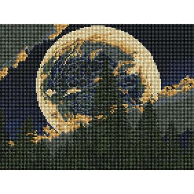 달 밝은 밤 (캔버스형) 보석십자수 30x40