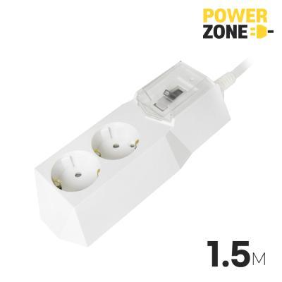 [파워존]철벽 고용량멀티탭 배선차단2구 1.5M 화이트