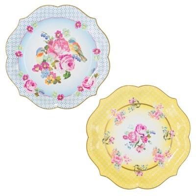 [TT] 큰 싸이즈 꽃무늬 종이 접시 - 노랑2, 파랑2